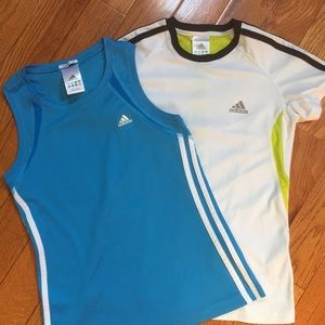 Girl's 2 Adidas Climalite Athletic Tops size M